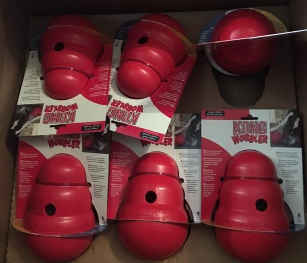 Image of a box of Kong toys