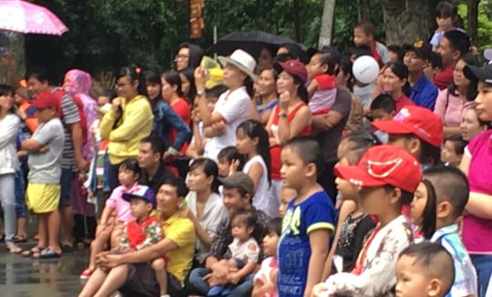 Visitors in a zoo watching an animal show